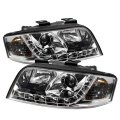 Chrome Smoked DRL LED Projector Headlights for Audi A6 2002-2004